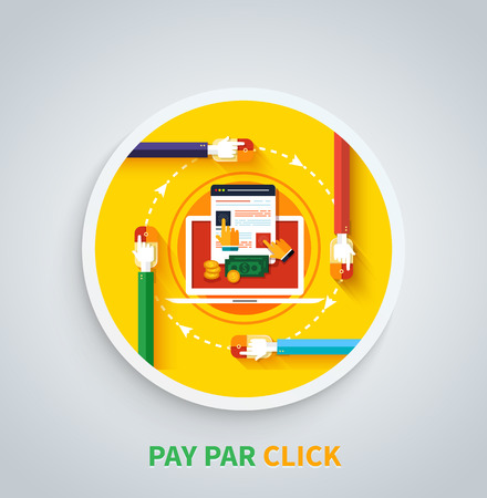 clicked: Pay per click internet advertising model when the ad is clicked. Modern flat design. Can be used for web banners, marketing and promotional materials, presentation templates Illustration