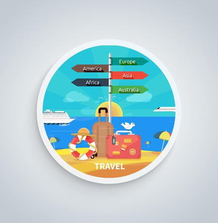 business travel: Icons Set von Reisen, planen einen Sommerurlaub, Tourismus und Reise-Objekte und Passagiergep�ck in flacher Bauform. Verschiedene Arten von Reisen. Gesch�ftsreisen Konzept auf runden Banner