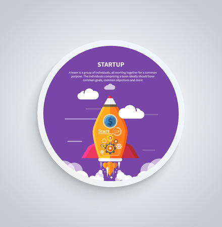 Business start up idea template. Start up rocket idea. New business project start up, launching new product or service in flat design on round banner Vector
