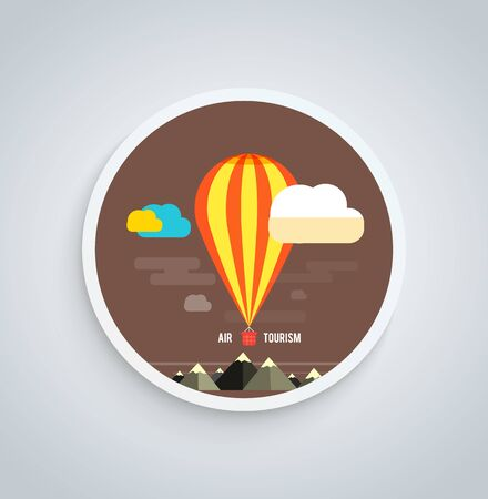 Hot air balloon flying over the mountain. Icons of traveling, planning a summer vacation, tourism and journey objects on round banner Vector