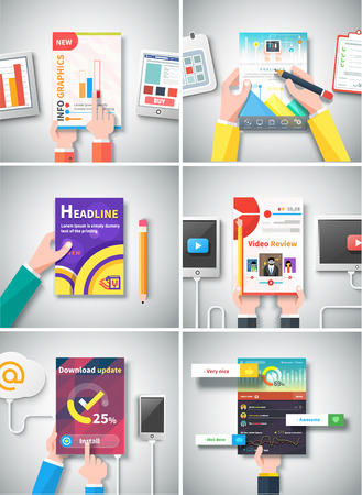 graphic illustration: Infographic business brochures banners analitics, strategy with hands. Modern stylized graphics data visualization. Can be used for web banners marketing and promotional materials, flyers, presentation templates