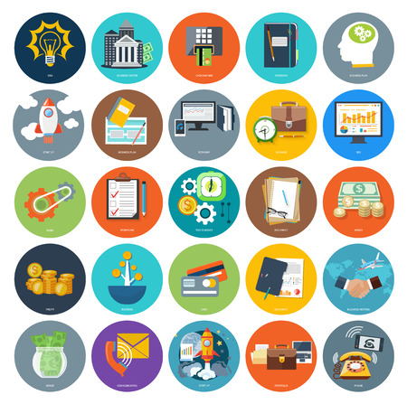 economy: Set of business icons concepts product presentation search investors, idea and other in flat design on banners. Can be used for web banners, marketing and promotional materials, presentation templates