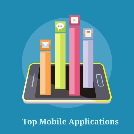 smartphone apps: Smartphone with columns rated mobile applications. Top Apps mobile applications. Concept in flat design style. Can be used for web banners, marketing and promotional materials, presentation templates Illustration