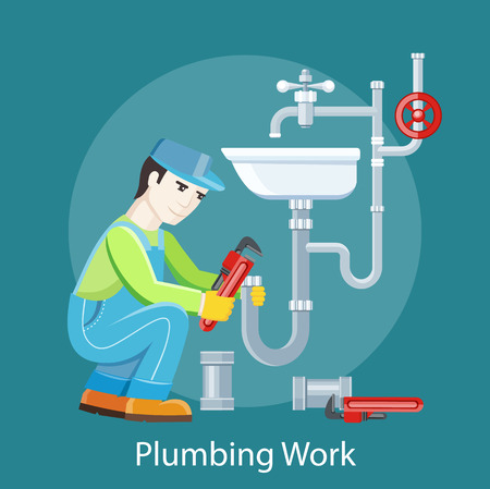 handyman: Plumbing work. Sanitary works. Plumber and wrench. Engineer character. Plumber repairing a pipe under a sink. Flat icon modern design style concept