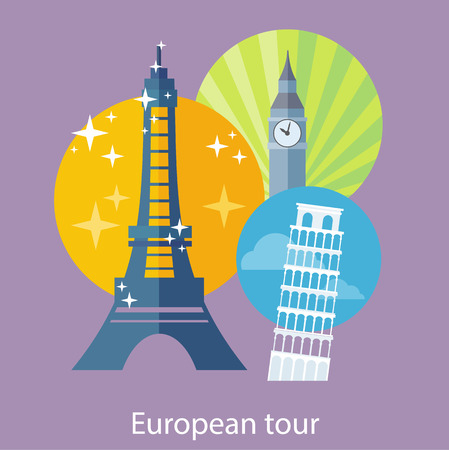 touristic: European traveling tour, touristic banner. Composition with famous european world landmarks icons. Can be used for web banners, marketing and promotional materials, presentation templates Illustration