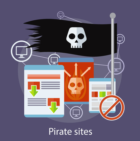 Homepage of pirate sites with flag concept