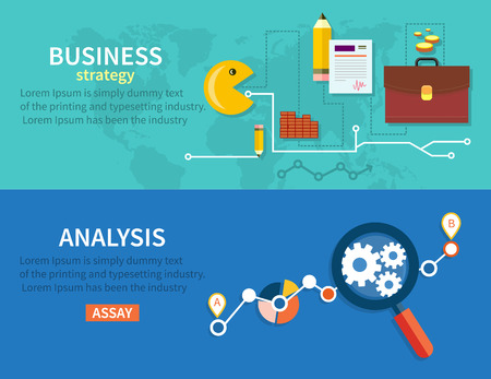 business analysis: Growth chart with magnifying glass focusing on point and Graphical analysis in flat design style Illustration