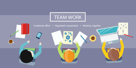 Team work concept. Business meeting top view in flat design