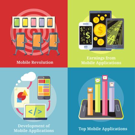 activism: Smartphone con columnas rated aplicaciones m�viles. Aplicaciones m�viles Top Aplicaciones. Smartphones Icon manifestaci�n con pancartas y consignas. D�lar concepto de tel�fono dinero. Desarrollo de aplicaciones m�viles.