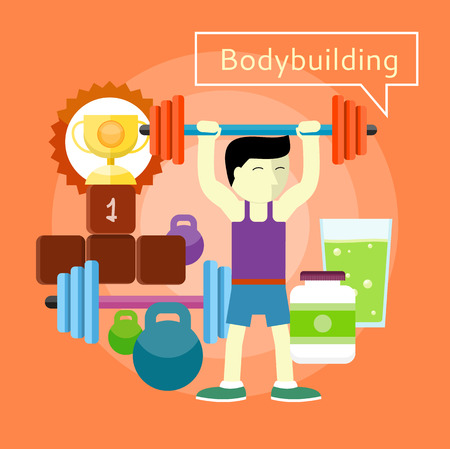 beginner: Man beginner bodybuilder in Bodybuilding concept