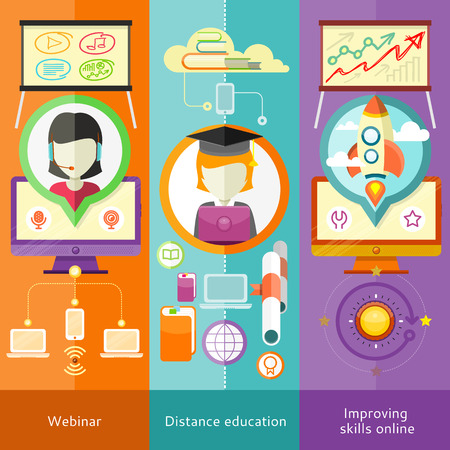 Webinar, Fernunterricht und Lern ??Banners in flaches Design mit Platz für Text Standard-Bild - 39304898