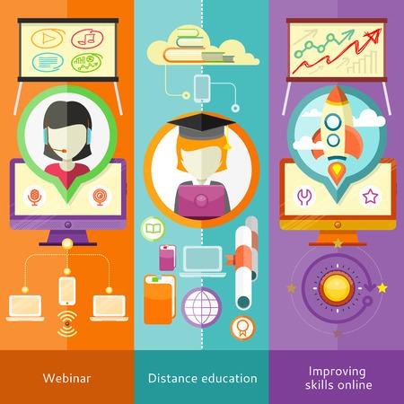 Webinar, onderwijs op afstand en leren Banners in flat design met plaats voor tekst