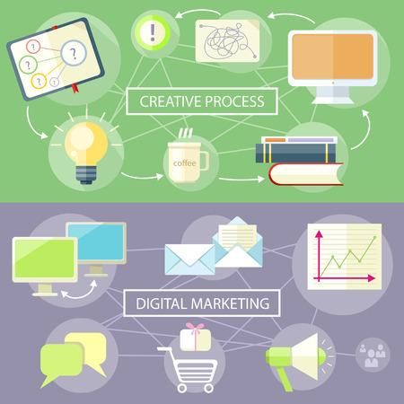 Icons f�r Marketing Artikel. Digital-Marketing-Konzept Illustration