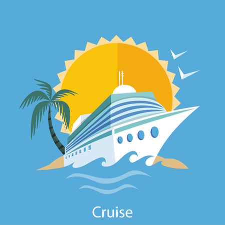 Cruise ship in clear blue water with palm tree Ilustração