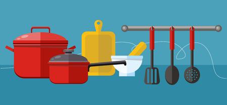 Platte design concept iconen van keukengerei
