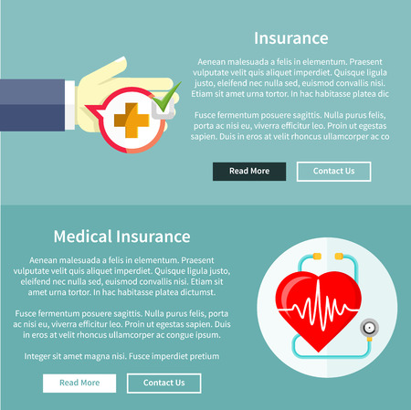 Medical and health insurance concept in flat style on banners with text and buttons read more and contact us Vector