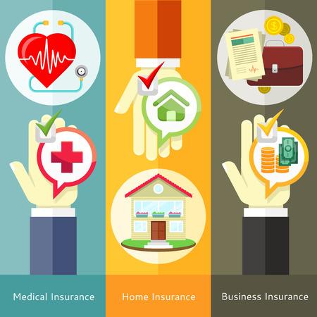 salud: Casa, negocio, concepto médico y seguro de salud en el estilo plano en pancartas con texto y botones