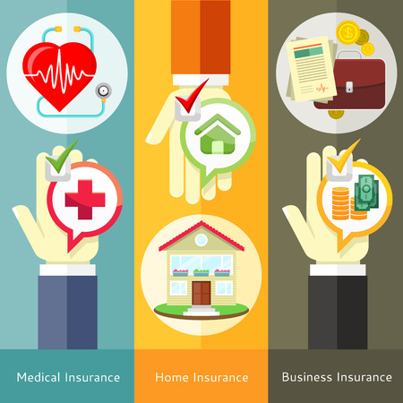 House, business, medical and health insurance concept in flat style on banners with text and buttons Stock Illustratie