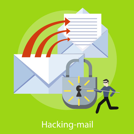Hacker activity viruses hacking and e-mail spam. Computer crime in flat design