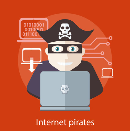 Pirate attacking with a knife a laptop computer as internet pirate