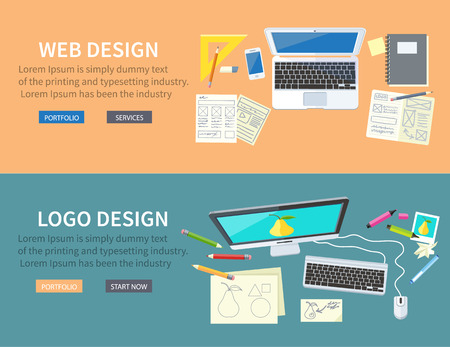 Designer office workspace with tools and devices in modern flat style. Creative process, logo and graphic design, design agency. Top view banners with buttons Illustration