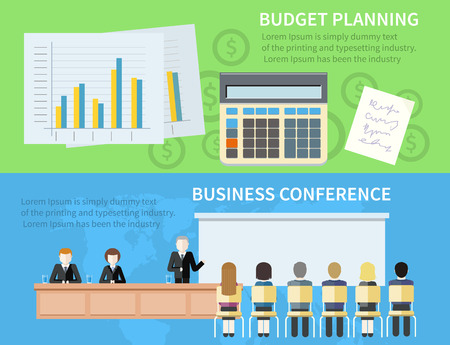 budget: Business planning and conference concept in flat style
