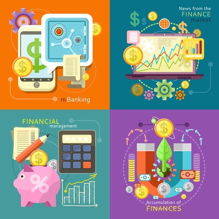 banking and finance: Internet online banking. Accumulation of finances concept of a magnet attracting golden coins Illustration