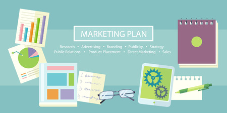 Notebook with text marketing plan, research, advertising, branding, publicity, strategy, public relations, product placement, direct marketing and sales on table with office objects