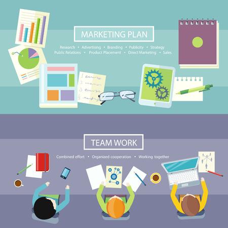 仕事のチームの概念。フラットなデザインでビジネス会議トップ ビュー