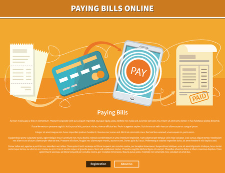 about us: Paying bills payments online credit banner concept with buttons registration and about us. Can be used for web banners, marketing and promotional materials, presentation templates