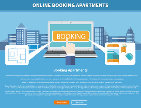 accommodation: Online accommodation booking concept on modern technology device laptop in flat web design Illustration