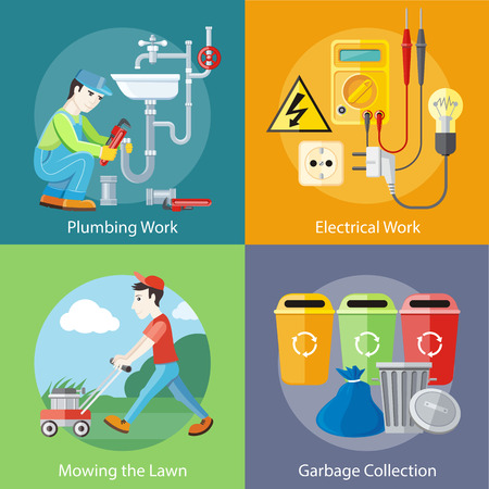 Plumbing work. Sanitary works. Plumber and wrench. Man moves with lawnmower, mows green grass near house collection concept
