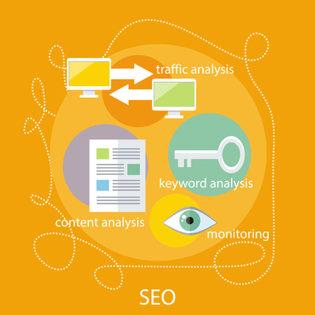 analytic: SEO optimization, programming process and web analytic elements in flat design