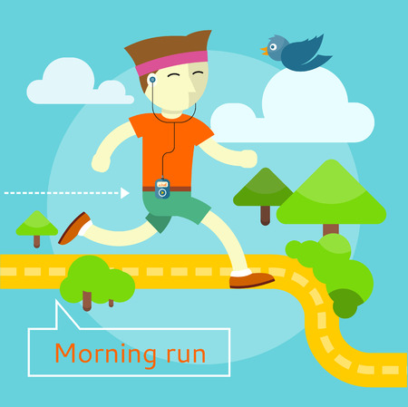 morning: Happy young man on morning run in flat design