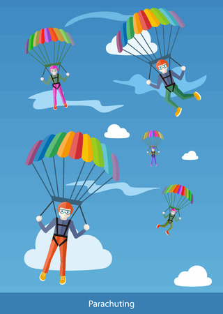 Happy peoples plans with parachute. Group of happy parachutists descend from the sky on parachutes fly between the clouds. Web banners, marketing and promotional materials, presentation templates Vector