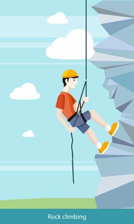 escalada: Hombre que hace la escalada en roca. El muchacho joven escalador sube el acantilado con una cuerda y accesorios para los escaladores. Puede ser utilizado para la web banners, marketing y materiales promocionales, plantillas de presentaci�n Vectores