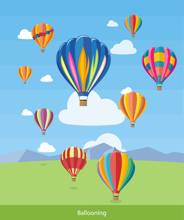 and the air: Colorful hot air balloons flying over the mountain. Icons of traveling, planning summer vacation, tourism and journey objects. Web banners, marketing and promotional materials, presentation templates Illustration