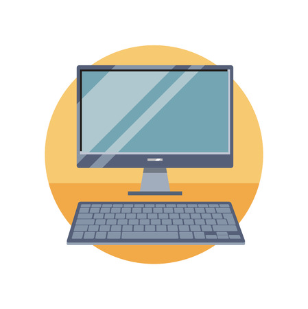 keyboard: Computer monitor with keyboard. Can be used for web banners, marketing and promotional materials, presentation templates
