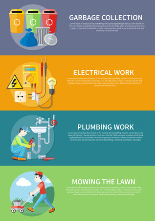 mower: Plumbing work. Sanitary works. Plumber and wrench. Man moves with lawnmower, mows green grass. Garbage and recycling cans collection concept. Electrical work. Socket with devices on banners