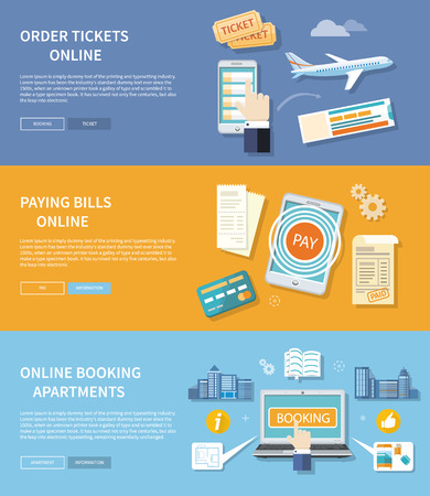 Paying bills payments online credit with buttons registration and about us. Online accommodation booking concept on modern technology device laptop in flat web design. Buy ticket online
