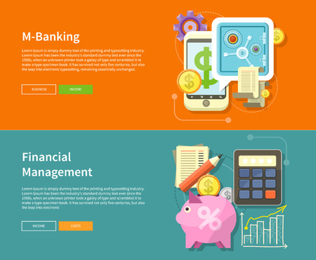 accounting design: Internet online banking. Money exchange m banking. Accounting with digitial caculator. Financial management concept with item icons graph, pig, calculator, document page in flat design
