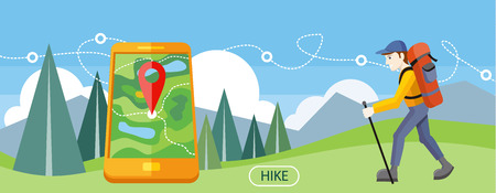 trail: Man traveler with backpack hiking equipment walking in mountains. Mountain tourism concept in cartoon design style. Man with GPS navigation