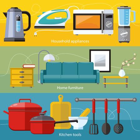 Herramientas de cocina y equipo de cocina, sirven comidas y elementos de preparación de alimentos. Interior del asunto. Inicio aparato microondas, plancha, cafetera, licuadora en diseño plano