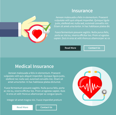 Medical and health insurance concept in flat style on banners with text and buttons read more and contact us. Can be used for web banners, marketing and promotional materials, presentation templates Vector