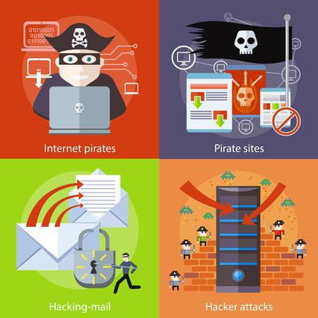 pirata: Actividad de hackers attaks. Virus actividad hacker hacking y el correo electr�nico de spam. El delito inform�tico en el dise�o plano. Pirata ataca ordenador port�til como pirata internet. P�gina de inicio de sitios pirata con la bandera