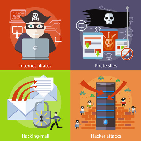 Hackers attaks activity. Hacker activity viruses hacking and e-mail spam. Computer crime in flat design. Pirate attacking laptop computer as internet pirate. Homepage of pirate sites with flag