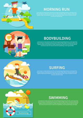 morning: Man surfer on blue ocean wave in tube getting barreled in flat design. Young man swimming front crawl in pool. Happy young man on morning run. Man beginner bodybuilder. Bodybuilding concept on banners