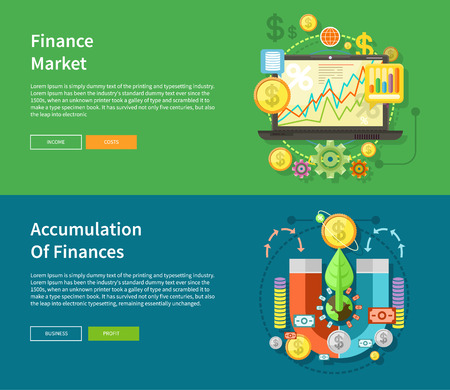 banking and finance: Accumulation of finances concept of a magnet attracting golden coins from one side to the other. Financial diagram on a laptop monitor. News from finance market. Concept in flat design style Illustration