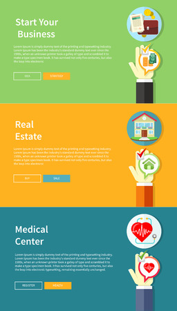 property insurance: House, business, medical and health insurance concept in flat style on multicolor banners with text and buttons. Can used for web banners, marketing and promotional materials, presentation templates Illustration