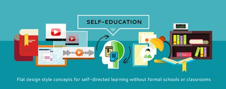 self study: Human resources and self-education and development. Modern business concept with icons for self learning. Can be used for web banners, marketing and promotional materials, presentation templates